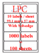 PDL-10s ( 10 labels per sheet ) SPECIAL OFFER WHILE STOCK LAST(Now no VAT)